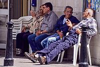Victoria, Gozo. - Men at Cafe, Talking.