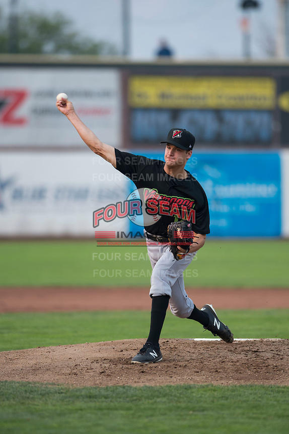Great Falls Voyagers starting pitcher Jason Bilous (14) delivers a pitch during a Pioneer League against the Ogden Raptors at Lindquist Field on August 23, 2018 in Ogden, Utah. The Ogden Raptors defeated the Great Falls Voyagers by a score of 8-7. (Zachary Lucy/Four Seam Images)