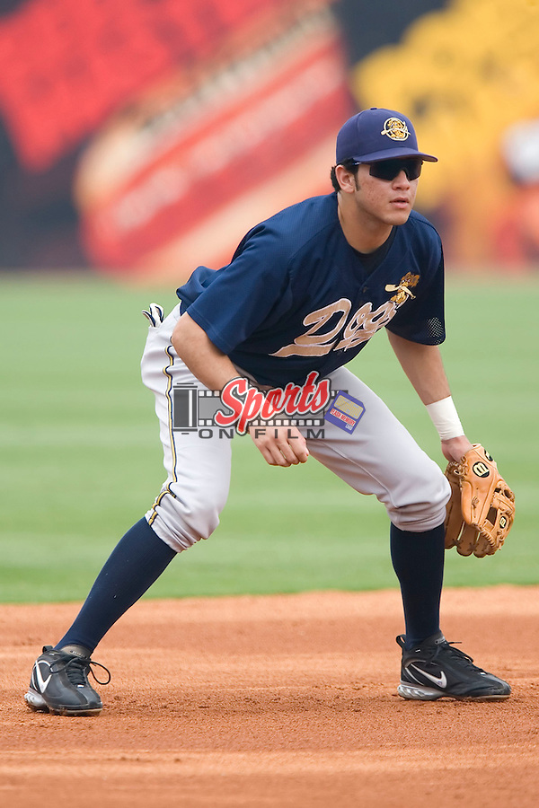 Charleston RiverDogs third baseman Marcos Vechionacci on defense versus the Greensboro Grasshoppers at First Horizon Park in Greensboro, NC, Wednesday, August 9, 2006.
