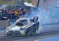 Jul 23, 2016; Morrison, CO, USA; NHRA funny car driver Alexis DeJoria during qualifying for the Mile High Nationals at Bandimere Speedway. Mandatory Credit: Mark J. Rebilas-USA TODAY Sports
