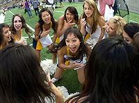California cheerleaders perform before the game against Washington at Memorial Stadium in Berkeley, California on November 2nd, 2012.  Washington Huskies defeated California, 13-21.