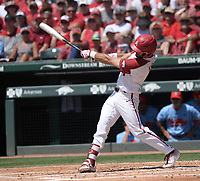 NWA Democrat-Gazette/ANDY SHUPE<br /> Arkansas second baseman Jack Kinley connects Saturday, June 8, 2019, for a 3-run home run during the first inning in the NCAA Super Regional game at Baum-Walker Stadium in Fayetteville. Visit nwadg.com/photos to see more photographs from the game.