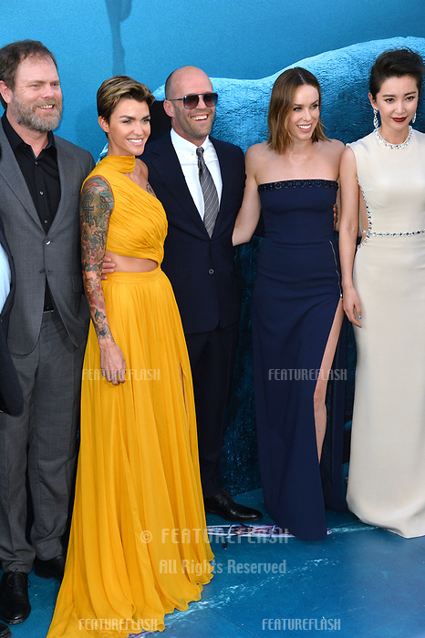 "LOS ANGELES, CA - August 06, 2018: Rainn Wilson, Ruby Rose, Jason Statham, Jessica McNamee & Li Bingbing at the US premiere of ""The Meg"" at the TCL Chinese Theatre"