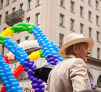 Actor Sir Ian McKellen, a grand marshal at the annual Lesbian, Gay, Bisexual and Transgender Pride Parade on Fifth Avenue in New York on Sunday, June 28, 2015. The parade was particularly boisterous due to the recent Supreme Court decision on same-sex marriage. The parade is the largest gay pride parade in the world.(© Richard B. Levine)