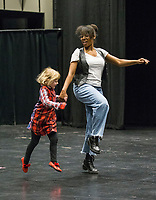 NWA Democrat-Gazette/BEN GOFF @NWABENGOFF<br /> Willow Blanchard, 4, of Bella Vista auditions with casting director Dayna Dantzler Friday, March 1, 2019, during casting for the role of 'Lulu,' the lead character's 5-year-old daughter, in the upcoming production of 'Waitress' at the Walton Arts Center in Fayetteville.