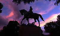 Sunsets behind the Robert E. Lee Statue in Emancipation Park in Charlottesville, Va. Photo/Andrew Shurtleff Photography, LLC