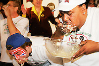 """Hungry"" Charles Hardy at the I.F.O.C.E. sanctioned World Matzah Ball Eating Championship in New York City on April 20, 2005."