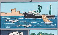 France, Aquitaine, Pyrénées-Atlantiques, Pays Basque, Ciboure: Ecusson de la Coopérative Maritime Logicoop représentant un bateau de pêche  , port de pêche  de Saint-Jean-de-Luz  //  France, Pyrenees Atlantiques, Basque Country, Ciboure: Ecusson Cooperative Maritime Logicoop representing a fishing boat,  Saint-Jean-de-Luz  fishing port