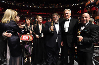 Warren Beatty and Faye Dunaway on stage after presenting the Oscar&reg; for Best Motion Picture of the Year to Guillermo del Toro and J. Miles Dale for work on &quot;The Shape Of Water&quot; during the live ABC Telecast of The 90th Oscars&reg; at the Dolby&reg; Theatre in Hollywood, CA on Sunday, March 4, 2018.<br /> *Editorial Use Only*<br /> CAP/PLF/AMPAS<br /> Supplied by Capital Pictures