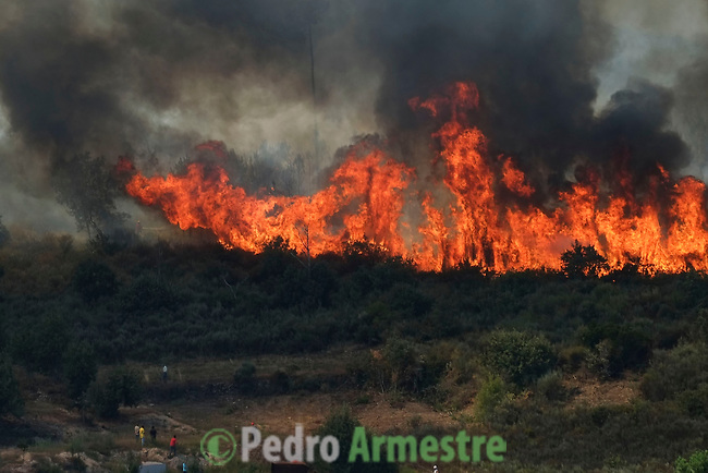 General view of a wildfire in Soutelinho da Raia, in Portugal on August 24, 2013. (c) Pedro ARMESTRE.