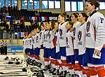 06.01.2020, BLZ Arena, Füssen / Fuessen, GER, IIHF Ice Hockey U18 Women's World Championship DIV I Group A, <br /> Frankreich (FRA) vs Italien (ITA), <br /> im Bild Team France beim abspielen der Nationalhymne fuer das siegreiche Team <br /> <br /> Foto © nordphoto / Hafner