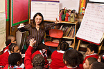 Female teacher working with class on science vocabulary Grade 2