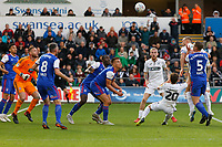 Mike van der Hoorn of Swansea City (2nd R) heads the ball forward during the Sky Bet Championship match between Swansea City and Ipswich Town at the Liberty Stadium, Swansea, Wales, UK. Saturday 06 October 2018