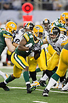 Pittsburgh Steelers linebacker James Farrior (51) pursues Green Bay Packers running back James Starks (44) during Super Bowl XLV on Sunday, February 6, 2011, in Arlington, Texas. The Packers won 31-25. (AP Photo/David Stluka)