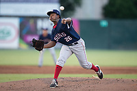 Hagerstown Suns starting pitcher Yonathan Ramirez (26) delivers a pitch to the plate against the Kannapolis Intimidators at Kannapolis Intimidators Stadium on June 15, 2017 in Kannapolis, North Carolina.  The Intimidators defeated the Suns 9-1 in game two of a double-header.  (Brian Westerholt/Four Seam Images)