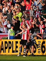 Exeter City's Jayden Stockley, left, celebrates scoring the opening goal with team-mate Pierce Sweeney<br /> <br /> Photographer Chris Vaughan/CameraSport<br /> <br /> The EFL Sky Bet League Two Play Off Second Leg - Exeter City v Lincoln City - Thursday 17th May 2018 - St James Park - Exeter<br /> <br /> World Copyright &copy; 2018 CameraSport. All rights reserved. 43 Linden Ave. Countesthorpe. Leicester. England. LE8 5PG - Tel: +44 (0) 116 277 4147 - admin@camerasport.com - www.camerasport.com