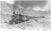 Panoramic view of westbound freight moving upgrade to Cerro Summit.<br /> D&amp;RGW  Cerro Summit, CO  Taken by Perry, Otto C. - 9/26/1942