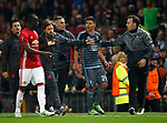 Facundo Roncaglia of Celta Vigo carries on arguing with Eric Bailly of Manchester United as they walk off the pitch during the Europa League Semi Final 2nd Leg match at Old Trafford Stadium, Manchester. Picture date: May 11th 2017. Pic credit should read: Simon Bellis/Sportimage