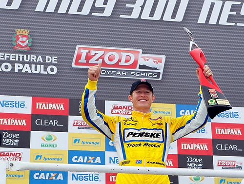 30 April - 1 May, 2011, Sao Paulo, Sao Paulo Brazil<br /> Ryan Briscoe celebrates in victory lane.<br /> © 2011 Phillip Abbott<br /> LAT Photo USA