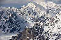Aerial of mountain ridges surrounding Denali on the south side, Denali National Park, Alaska