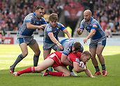 June 4th 2017, AJ Bell Stadium, Salford, Greater Manchester, England;  Rugby Super League Salford Red Devils versus Wakefield Trinity; Craig Kopczak of Salford is tackled by Keegan First of Wakefield Trinity