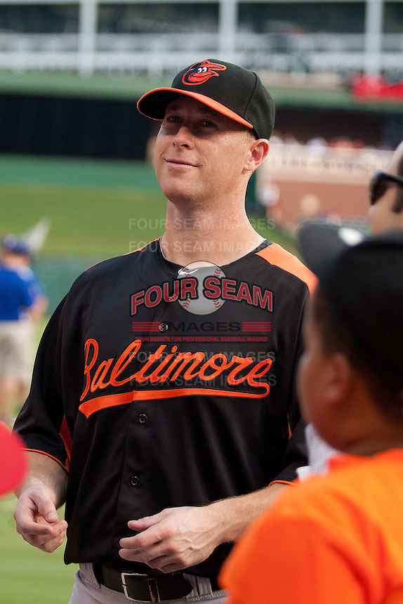 Baltimore Orioles outfielder Lew Ford #51 before the Major League Baseball game against the Texas Rangers on August 21st, 2012 at the Rangers Ballpark in Arlington, Texas. The Orioles defeated the Rangers 5-3. (Andrew Woolley/Four Seam Images).