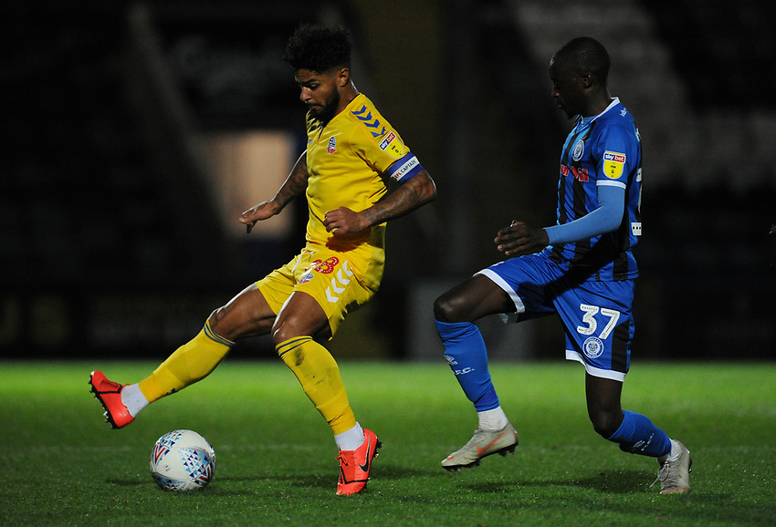 Bolton Wanderers' Liam Bridcutt under pressure from Rochdale's Fabio Tavares<br /> <br /> Photographer Kevin Barnes/CameraSport<br /> <br /> EFL Leasing.com Trophy - Northern Section - Group F - Rochdale v Bolton Wanderers - Tuesday 1st October 2019  - University of Bolton Stadium - Bolton<br />  <br /> World Copyright © 2018 CameraSport. All rights reserved. 43 Linden Ave. Countesthorpe. Leicester. England. LE8 5PG - Tel: +44 (0) 116 277 4147 - admin@camerasport.com - www.camerasport.com