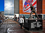 25 January 2009: Fans pose in front of a bronze statue of Montreal Canadiens legend Jean Beliveau outside the Bell Centre prior to the 2009 NHL All-Star Game in Montreal, Quebec, Canada. The Eastern Conference defeated the Western Conference 12-11 in a shootout. ***** Editorial Sales Only ***** Mandatory Photo Credit: Ed Wolfstein Photographer