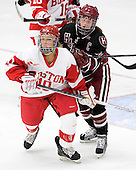 Alexis Woloschuk (BU - 10), Jillian Dempsey (Harvard - 14) - The Boston University Terriers defeated the visiting Harvard University Crimson 2-1 on Sunday, November 18, 2012, at Walter Brown Arena in Boston, Massachusetts.