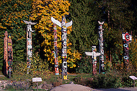 Totem Poles at Brockton Point in Stanley Park, Vancouver, BC, British Columbia, Canada, Autumn / Fall