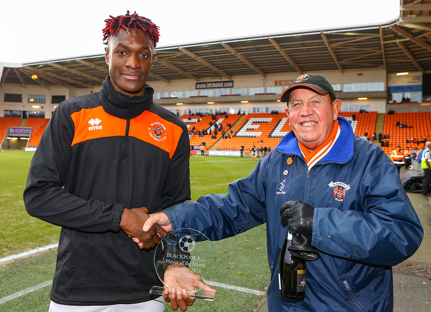 Blackpool's Armand Gnanduillet receives the player of the month award<br /> <br /> Photographer Alex Dodd/CameraSport<br /> <br /> The EFL Sky Bet League One - Blackpool v Shrewsbury Town - Saturday 19 January 2019 - Bloomfield Road - Blackpool<br /> <br /> World Copyright © 2019 CameraSport. All rights reserved. 43 Linden Ave. Countesthorpe. Leicester. England. LE8 5PG - Tel: +44 (0) 116 277 4147 - admin@camerasport.com - www.camerasport.com