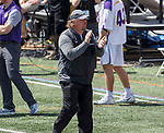 Albany coach Scott Marr applauds the efforts of his team as UAlbany Lacrosse defeats Vermont 14-4  in the American East Conference Championship game at Casey Stadium, May 5.