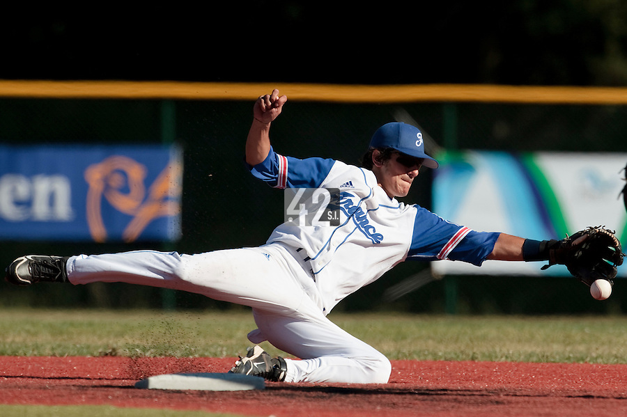 18 July 2010: Maxime Lefevre of Team France makes a diving catch during day 6 of the Open de Rouen, an international tournament with Team France, Team Saint Martin, Team All Star Elite, at Stade Pierre Rolland, in Rouen, France.