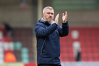 Cheltenham Town caretaker manager Russell Milton claps the fans at full time of the Sky Bet League 2 match between Cheltenham Town and Cambridge United at the LCI Stadium, Cheltenham, England on 18 March 2017. Photo by Mark  Hawkins / PRiME Media Images.