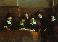 Rembrandt:  Officials of the Drapers' Guild.  Rijksmuseum, Amsterdam. Reference only.