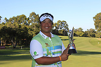 Kiradech Aphibarnrat (THA) winner of the ISPS Handa World Super 6 Perth at Lake Karrinyup Country Club on the Sunday 11th February 2018.<br /> Picture:  Thos Caffrey / www.golffile.ie<br /> <br /> All photo usage must carry mandatory copyright credit (&copy; Golffile | Thos Caffrey)