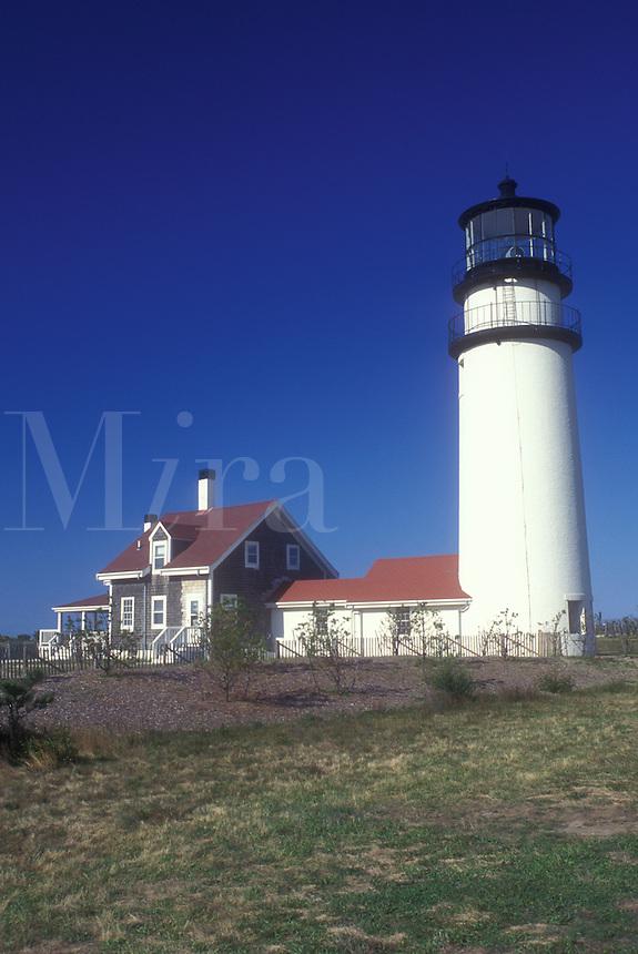 AJ1492, lighthouse, Cape Cod, Cape Cod National Seashore, Massachusetts, Highland Light (Cape Cod Light) in Truro, Massachusetts. Lighthouse built in 1795.