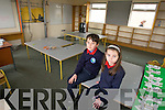 3rd Class students Paddy Falvey and Kaley Killeen in one of the classrooms  storm damaged last week. Hoping the new school promised will be soon