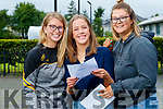 Katie Nagle, Maria Dwyer and Shauna Flynn, all from Tralee, who received their Leaving Certificate results at Mercy Mounthawk Secondary School, Tralee, on Tuesday morning last.