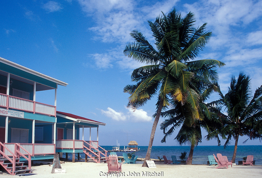 Beachfront hotel on Caye Caulker, Belize