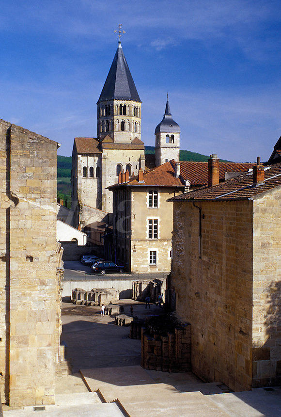 abbey, France, Europe, Burgundy, Cluny, Saone-et-Loire, Bourgogne, wine region, Eglise Abbatiale the Abbey Church in the town of Cluny.