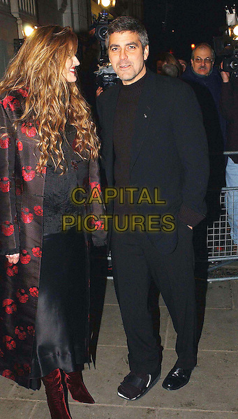 NATASHA MCELHONE & GEORGE CLOONEY.Solaris Film Premiere.Natascha, red velvet boots,  black suit, hands in pockets, full length, full-length.www.capitalpictures.com.sales@capitalpictures.com.©Capital Pictures