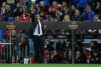 19.04.2012 MADRID, SPAIN - UEFA Europa League 11/12 Semi Finals match played between At. Madrid vs Valencia (4-2) at Vicente Calderon stadium. the picture show Unai Emery Etxegoien coach of Valencia C.F.