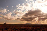 USA, New Mexico, cloud and juniper landscape in Shiprock