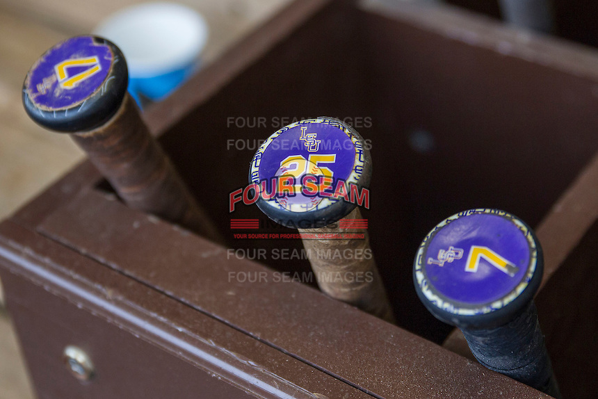 LSU bat rack on April 24, 2015 at Alex Box Stadium in Baton Rouge, Louisiana. LSU defeated Texas A&M 9-6. (Andrew Woolley/Four Seam Images)