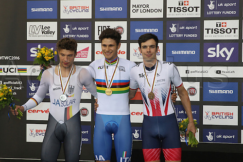 04.03.2016. Lee valley Velo Centre. London England. UCI Track Cycling World Championships Mens individual pursuit final.  Podium shows WEINSTEIN Domenic (GER) silver, GANNA Filippo (ITA)gold and TENNANT Andrew (GBR) bronze