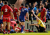 29th September 2017, RDS Arena, Dublin, Ireland; Guinness Pro14 Rugby, Leinster Rugby versus Edinburgh; Ian Davies referee signals Jordi Murphy of Leinster try
