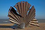 The Scallop shell sculpture by Maggi Hambling on shingle beach, Aldeburgh, Suffolk, England