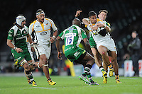 Frank Halai of Wasps is tackled by Alex Lewington of London Irish as Topsy Ojo of London Irish supports during the Premiership Rugby match between London Irish and Wasps - 28/11/2015 - Twickenham Stadium, London<br /> Mandatory Credit: Rob Munro/Stewart Communications