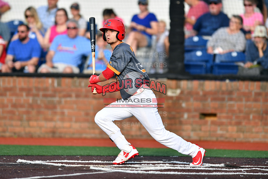 Johnson City Cardinals left fielder Brandon Riley (32) swings at a pitch during a game against the Pulaski Yankees at TVA Credit Union Ballpark on July 7, 2018 in Johnson City, Tennessee. The Cardinals defeated the Yankees 7-3. (Tony Farlow/Four Seam Images)